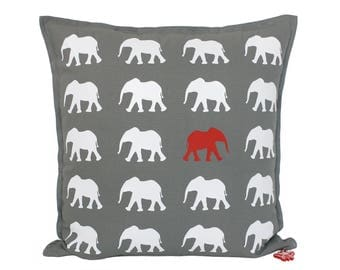Elephant Throw Pillow - Red and White Elephant Pillow - Personalized Name - Brit and Bee - Red Elephant Cushion - Elephant Nursery Decor Kid