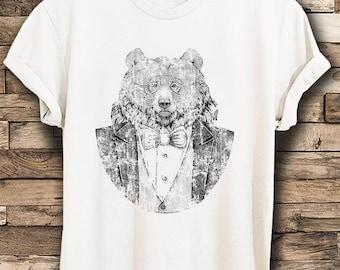 Bear t shirt etsy vintage bear t shirt bear with glasses t shirt tuxedo bear t shirt wilderness publicscrutiny Image collections