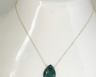 Raw Emerald Necklace Natural Emerald Necklace Large Emerald Necklace May Birthstone Emerald Necklace May Birthday Layering Necklace