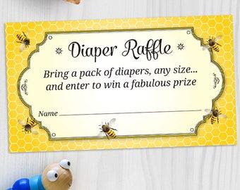"Printable Honeybee Baby Shower Diaper Card - Yellow, 3.5""x2"", JPG Instant Download"