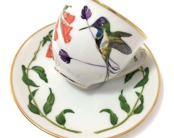 Vintage Franklin Mint 'Hummingbirds of the world' porcelain tea cups, Bavarian