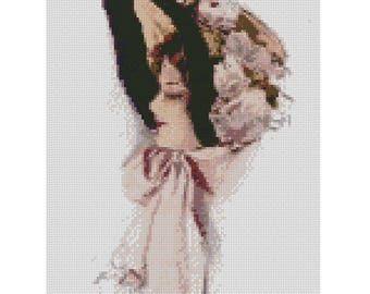 Lady in hat cross stitch pattern, Victorian Lady cross stitch pattern, retro vintage woman cross stitch, buy 2 get 1 free!