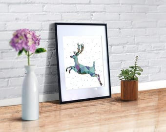 Cross stitch pattern modern deer,geometric cross stitch animal,easy cross stitch pattern PDF, buy 2 get 1 free! blue count cross stitch