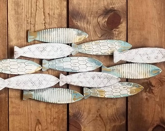 Fish Wall Decor / Coastal Decor / Fish Decor/ Beach House Wall Art/ Galvanized Metal Wall Art/ Fish Wall Art / Nautical Wall art