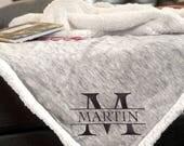 Sherpa Blanket/Personalized/Monogram blanket/Monogram sherpa blanket/Blanket/Personalized blanket/Sherpa/Fleece/Monogram/Valentines Gift