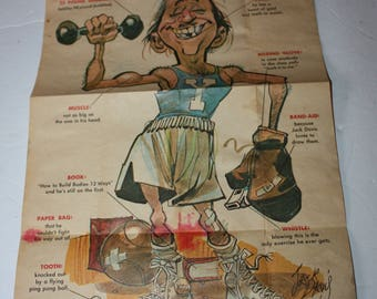 1968 Topps Krazy People Poster GYM TEACHER Jack Davis Artist