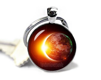 Solar Eclipse Key Ring Eclipse of the Sun Keychain Sun Eclipse Keyfob Eclipse 2017 Total Eclipse