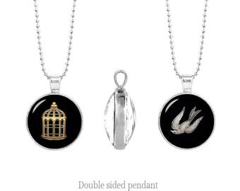 BioShock Infinite Double Sided Pendant Chain Bird or Cage Two Sided Pendant Fandom Jewelry