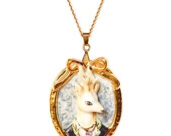 Porcelain Deer Cameo Necklace/ oval shape necklace/ deer necklace/ Cameo pendant/ wonderland necklace/stag necklace/ pendant/ necklace/ deer