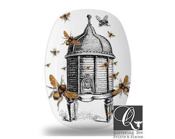 Beehive Platter,bee kitchen decor,beehive serving tray,melamine platters,honeybee dishes, gift for beekeeper,bee platters,bee trays #p13