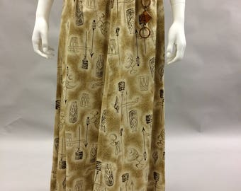 1960s XS Tiki Skirt Long Beige and Gold Print with Pockets! Size Extra Small | Size 2 | Maxi Length