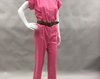 Pink Disco Jumpsuit Short Sleeves Pockets 1970s 1980s Size Small