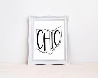 "Ohio State Print || 8""x10"" Ohio Wall Art Sign || Ohio State Gift || State Wall Art Sign, State Prints, State Wall Decor (DIGITAL PRODUCT)"