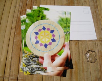 postcard of a flower of life from personal inspiration, Indigo Creations. pleased to offer matching stationery