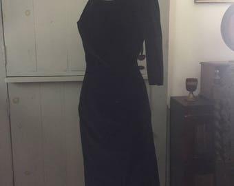 Vintage 1940's black velvet coctail dress