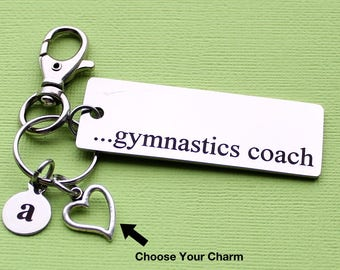 Personalized Gymnast Key Chain Gymnastics Coach Stainless Steel Customized with Your Charm & Initial - K638