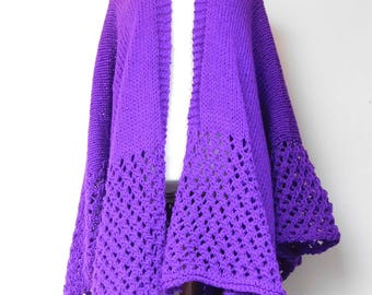Purple Lacy hand knitted poncho.