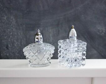 Vintage art deco cut glass salt and pepper set, vintage salt and pepper shakers with chrome top