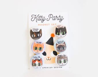 Cat Magnets / Cat Lady Gift / Gifts for Cat Ladies / Cat Gifts / Cat Magnet Set / Cute Cat Gift / Siamese Cat / Calico Cat / Tuxedo Cat