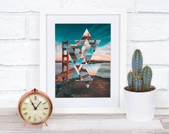 Printable, San Francisco, Golden Gate Bridge, 8x10, Geometric Design, Cityscape, Art Print, Instant Download