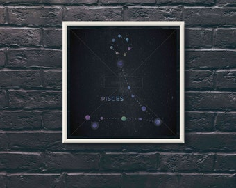 Pisces Star Sign Constellation Digital Print, High Resolution for Large Print, Instant Download.