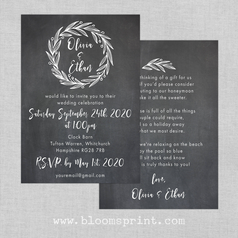 Garden wedding invitation set, Rustic wreath wedding invitation ...