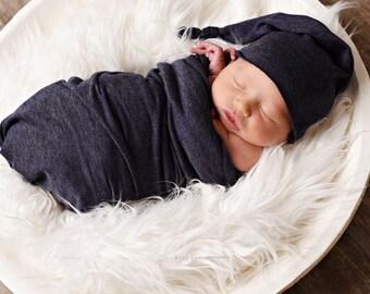Long Knotted Night Cap & Newborn Wrap Set  ~ Newborn Photography Prop