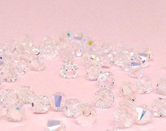 4mm Crystal AB Bead, Swarovski Xilion Bicone, 5328, Crystal Clear Bead, Bicone Bead, Jewelry Supply, Loose Beads, YC1011