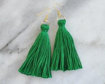 Green Tassel Earrings, Tassel Earrings, Long Tassel Earrings, Emerald Green, St. Patrick's Day Earrings, Irish Earring, Kelly Green