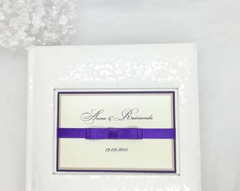 Picture Album, Luxury Wedding Photo Album with clear pockets, white wedding Album, Clear pockets, Satin ribbon, Wedding memories, 4x6 photos