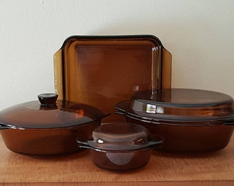 Vintage Amber Glass Baking Set Of 7 Anchor Hocking & Fire King Casserole Baking Dishes Oven to Table to Refrigerator  All Pieces Made in USA