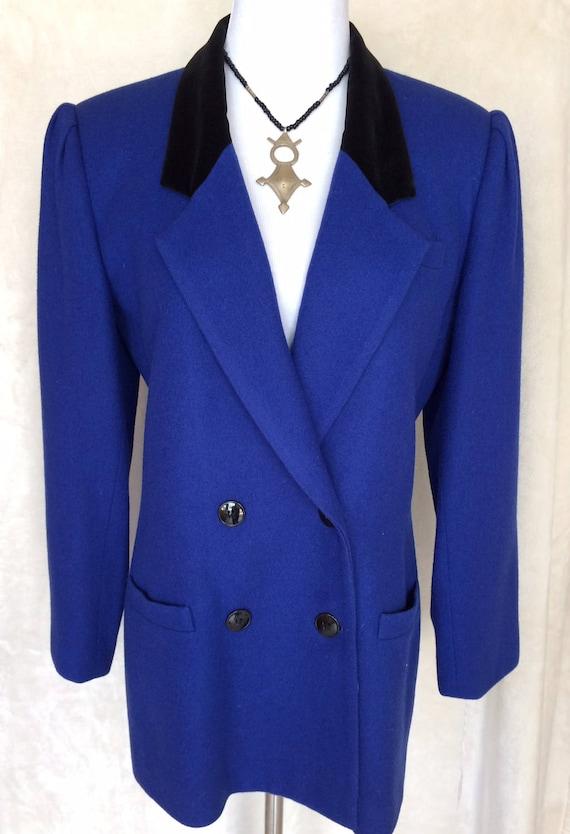 Oleg Cassini Cobalt Blue Wool Blazer,Double Breasted,Velvet Collar, Size 8