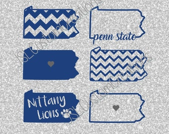 Penn State Pennsylvania States SVG, eps, DXF, png Cut Files for Silhouette, Cricut, Vectors, Nittany Lions,Football, College,Sports,Set of 6