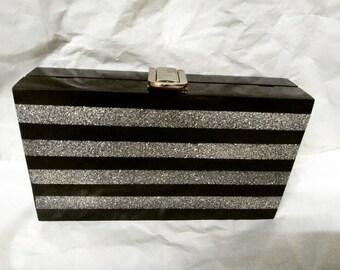 Black and Silver Acrylic Clutch/Evening Purse/Elegant Clutch/Functional Clutch/Party Clutch/Gift Clutch/Casual Clutch