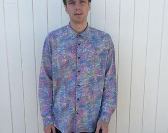 Mens Vintage Shirt. Long sleeved bright patterned shirt from 80s era. Southwest Castle.