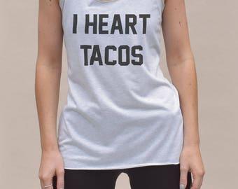 I heart tacos Tank - tacos tshirts, funny gym tops, womens tacos shirt, tacos gym top, womens gymwear, funny tacos shirt, tacos print