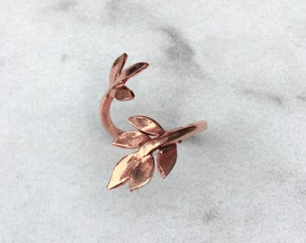 Leaf Midi Ring, Rose Gold Leaf Ring, Adjustable Leaf Ring, Leaves Ring, Olive Branch Ring, Wrapped Ring, Adjustable Ring Unique Gift for Her