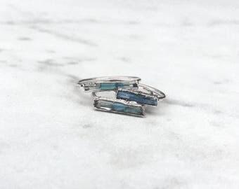 Rough Aquamarine Ring, Silver Raw Aquamarine Ring, Blue Aquamarine Statement Ring, March Birthstone Ring, Raw Crystal Ring, AQU/H-G-R-M