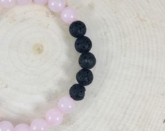 Essential Oil Diffuser Bracelet    Rose Quartz   Precious Stone   Natural Stone   Gift For Her   Zen Bracelet   Healing Bracelet