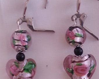 Pink Hearts - earrings glass beads-