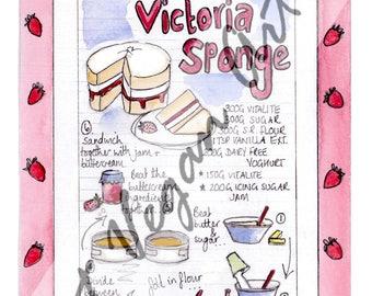Victoria Sponge Cake Recipe Card