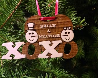 Snowman Couples Christmas Ornament - 2 First Names - Personalized with Gift Box