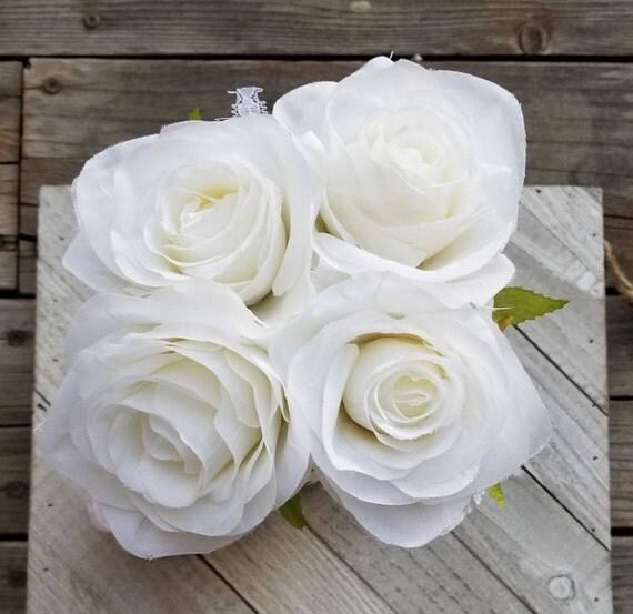 White Rose Flower Pen Bouquet in Ball Jar