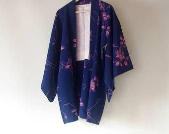 Vintage Japanese Kimono Haori / Pink flower pattern on dark blue base / Kimono Silk jacket