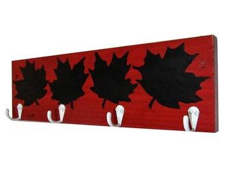 Canada 150 Maple Leaf Chalkboard Wall Coat Rack - White Key Hook Holder - Accessories Home Decor Red Black Wall Coat Rack Unique
