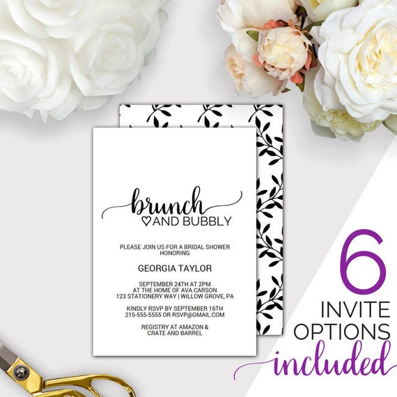 Brunch and bubbly bridal shower invitation template printable il570xn filmwisefo