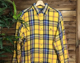 Camisa Polo Ralph Lauren Flannel Shirt 90s Vintage Mahalo Vintage Store