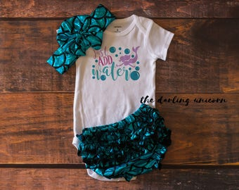 Just add water baby girl bodysuit, baby girl outfit, mermaid outfit, mermaid bloomers, mermaid baby, mermaid shirt, mermaid baby outfit
