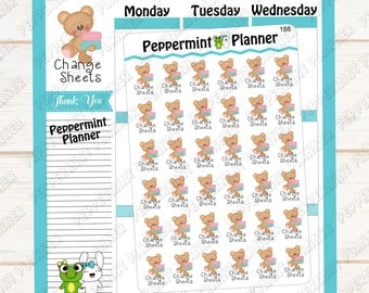 Teddy Bear Change Sheets --- Planner Stickers --- 188