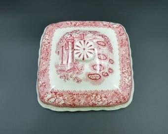 Warwick Tudor Rose Square Vegetable Dish LID ~ Pink Transferware
